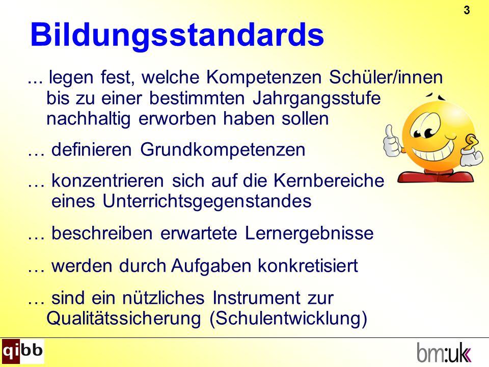 3 Bildungsstandards... legen fest, welche Kompetenzen Schüler/innen bis zu einer bestimmten Jahrgangsstufe nachhaltig erworben haben sollen … definier