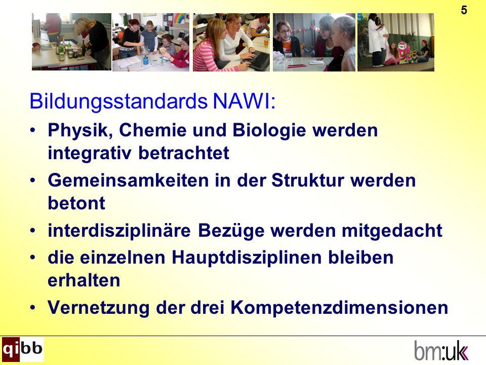 5 Bildungsstandards NAWI: Physik, Chemie und Biologie werden integrativ betrachtet Gemeinsamkeiten in der Struktur werden betont interdisziplinäre Bez