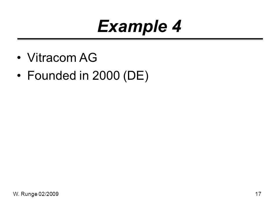 W. Runge 02/200917 Example 4 Vitracom AG Founded in 2000 (DE)