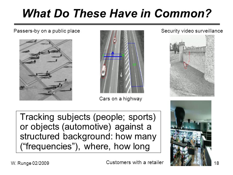 W. Runge 02/200918 What Do These Have in Common? Tracking subjects (people; sports) or objects (automotive) against a structured background: how many