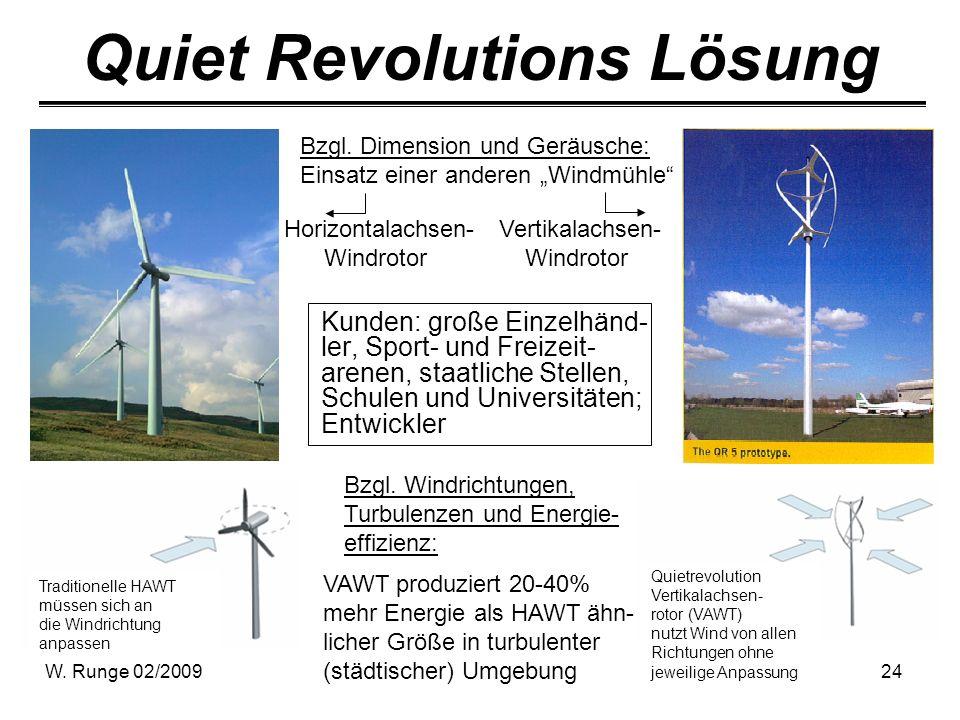 W. Runge 02/200924 Quiet Revolutions Lösung Kunden: große Einzelhänd- ler, Sport- und Freizeit- arenen, staatliche Stellen, Schulen und Universitäten;