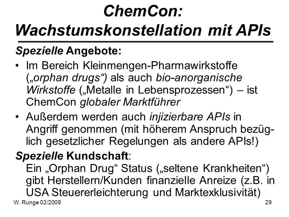 W. Runge 02/200929 ChemCon: Wachstumskonstellation mit APIs Spezielle Angebote: Im Bereich Kleinmengen-Pharmawirkstoffe (orphan drugs) als auch bio-an