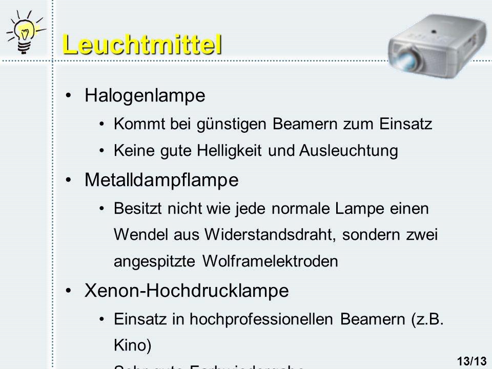 Leuchtmittel Halogenlampe Kommt bei günstigen Beamern zum Einsatz Keine gute Helligkeit und Ausleuchtung Metalldampflampe Besitzt nicht wie jede normale Lampe einen Wendel aus Widerstandsdraht, sondern zwei angespitzte Wolframelektroden Xenon-Hochdrucklampe Einsatz in hochprofessionellen Beamern (z.B.