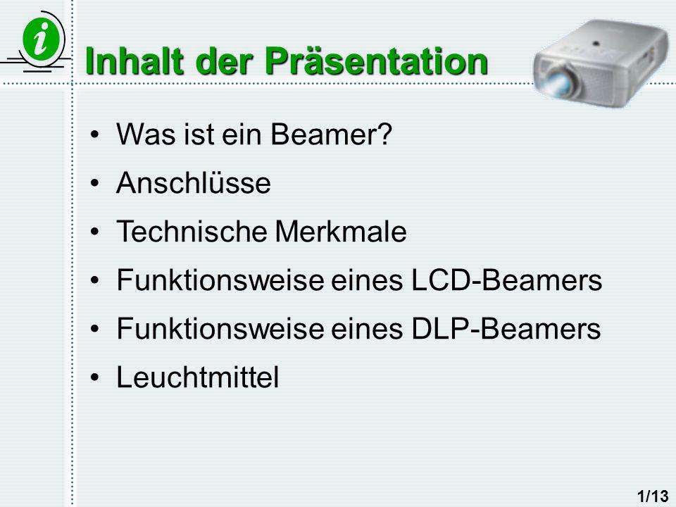 Inhalt der Präsentation Was ist ein Beamer? Anschlüsse Technische Merkmale Funktionsweise eines LCD-Beamers Funktionsweise eines DLP-Beamers Leuchtmit