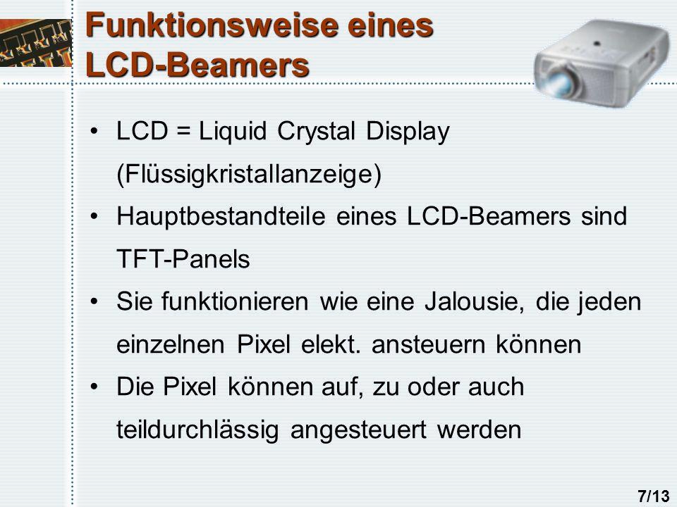 Funktionsweise eines LCD-Beamers LCD = Liquid Crystal Display (Flüssigkristallanzeige) Hauptbestandteile eines LCD-Beamers sind TFT-Panels Sie funktionieren wie eine Jalousie, die jeden einzelnen Pixel elekt.