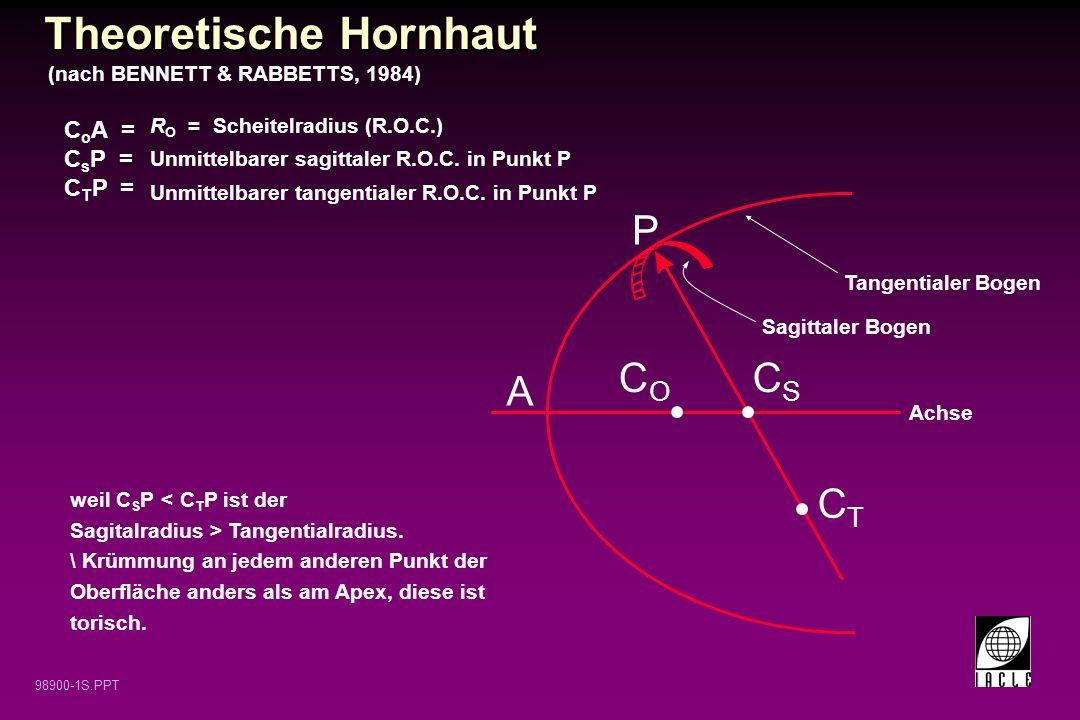 98900-1S.PPT P A Sagittaler Bogen Tangentialer Bogen COCO CSCS CTCT R O = Scheitelradius (R.O.C.) Unmittelbarer sagittaler R.O.C. in Punkt P Unmittelb