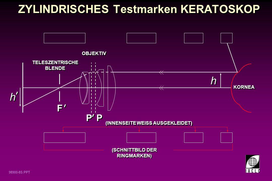 98900-8S.PPT ZYLINDRISCHES Testmarken KERATOSKOP TELESZENTRISCHE BLENDE OBJEKTIV P F F KORNEA h h - - h h - - - - (SCHNITTBILD DER RINGMARKEN) (INNENS