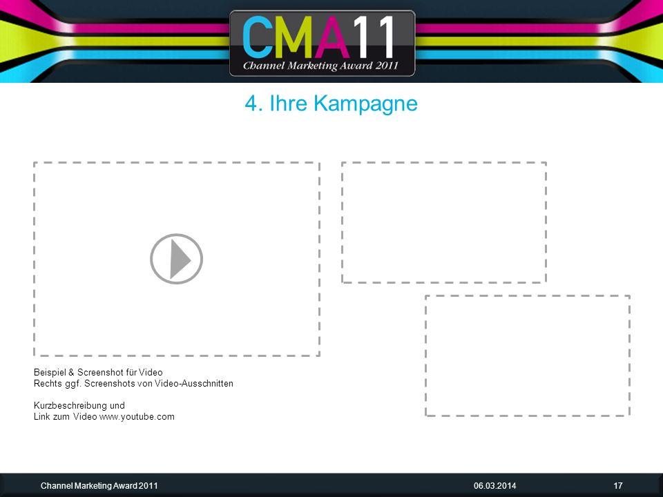 06.03.2014Channel Marketing Award 201117 Beispiel & Screenshot für Video Rechts ggf.