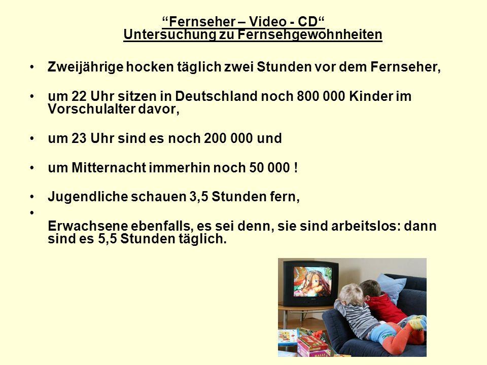 Fernseher – Video - CD Untersuchung zu Fernsehgewohnheiten Zweijährige hocken täglich zwei Stunden vor dem Fernseher, um 22 Uhr sitzen in Deutschland