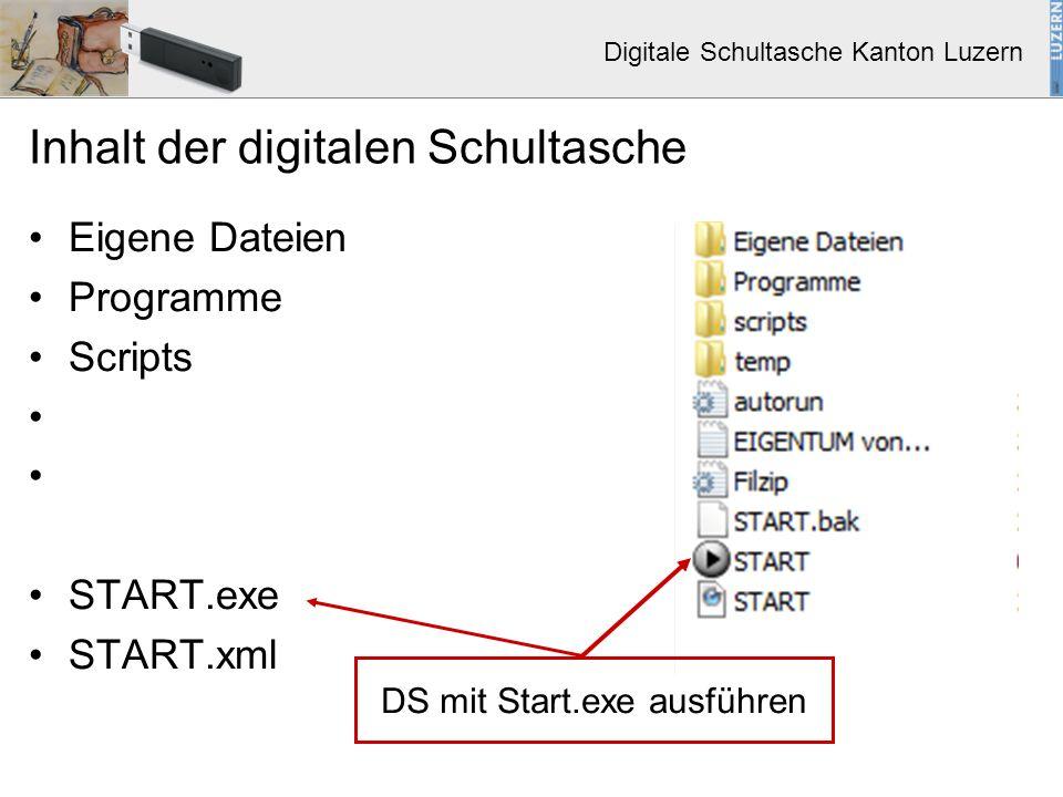 Digitale Schultasche Kanton Luzern Inhalt der digitalen Schultasche Eigene Dateien Programme Scripts START.exe START.xml DS mit Start.exe ausführen