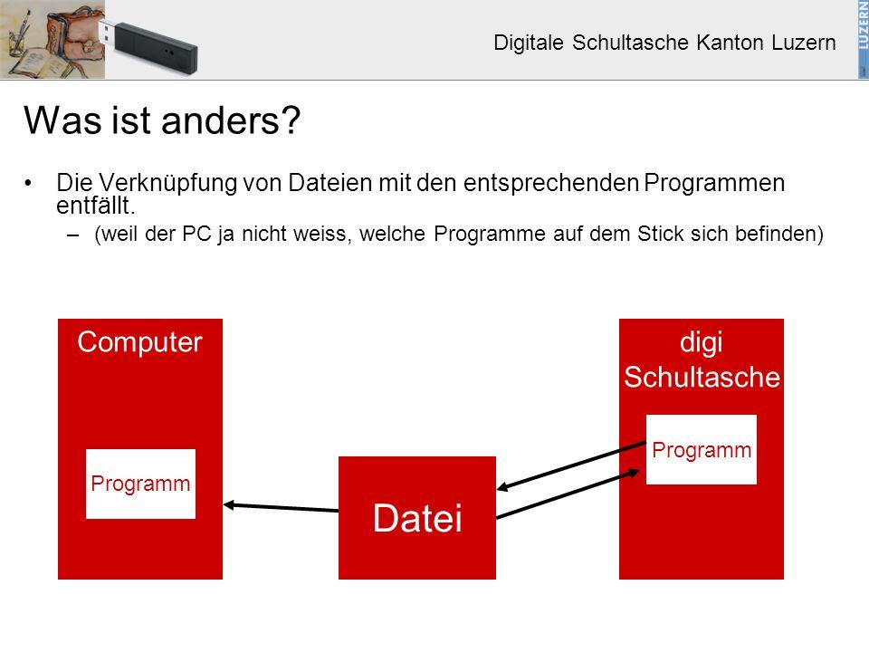 Digitale Schultasche Kanton Luzern Was ist anders? Die Verknüpfung von Dateien mit den entsprechenden Programmen entfällt. –(weil der PC ja nicht weis