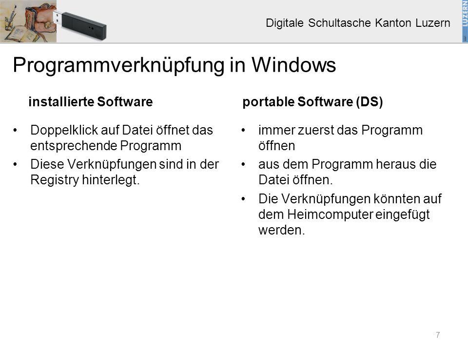 Digitale Schultasche Kanton Luzern Basis-Client (Windows 7, Office 2007) Basis-Software FS-Software Spezialsoftware Schule oder Client Edu-Link Edu-Stick Digitale Schultasche ( Portable Software) Basispaket Software-Pakete