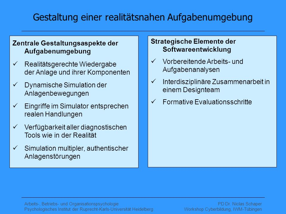 Arbeits-, Betriebs- und Organisationspsychologie Psychologisches Institut der Ruprecht-Karls-Universität Heidelberg PD Dr. Niclas Schaper Workshop Cyb