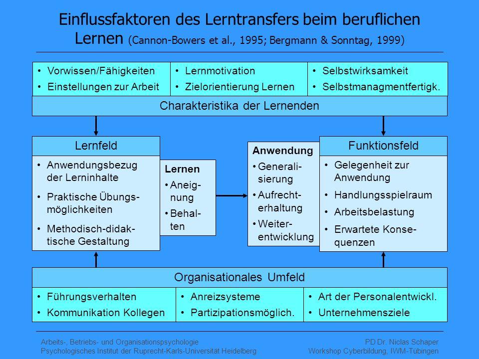 Arbeits-, Betriebs- und Organisationspsychologie Psychologisches Institut der Ruprecht-Karls-Universität Heidelberg PD Dr.