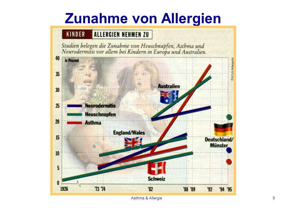 Asthma & Allergie40 Therapie der allergischen Entzündung Antigen APZT zelleZytokine B ZelleIgE Mastzellen Eosinophile Mediators IL-4sR Anti-IL5 CpG, IL-12Anti-IgE Cromolyn Glucocorticoide Antihistaminika Antileukotriene