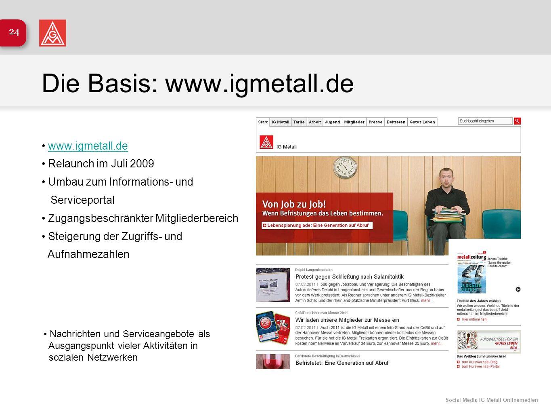 Social Media IG Metall Onlinemedien 24 Die Basis: www.igmetall.de www.igmetall.de Relaunch im Juli 2009 Umbau zum Informations- und Serviceportal Zuga