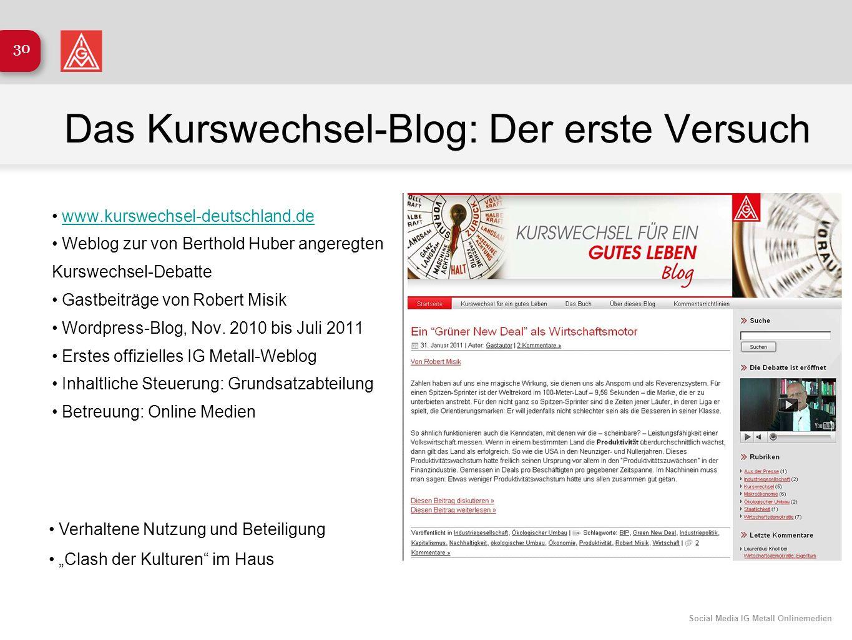 Social Media IG Metall Onlinemedien 30 Das Kurswechsel-Blog: Der erste Versuch www.kurswechsel-deutschland.de Weblog zur von Berthold Huber angeregten