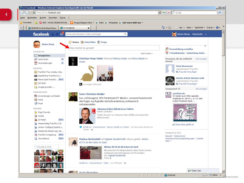 Social Media IG Metall Onlinemedien 25 Facebook: Die Pinnwand www.facebook.com/igmetallvorstand Fanpage seit etwa Dez.
