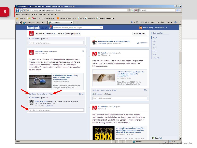 Social Media IG Metall Onlinemedien 26 Die Tarifrunde auf Facebook Specials auf Facebook Neben täglichen Meldungen zur Tarifrunde, nutzen wir das Portal zum Transportieren unserer Argumente.