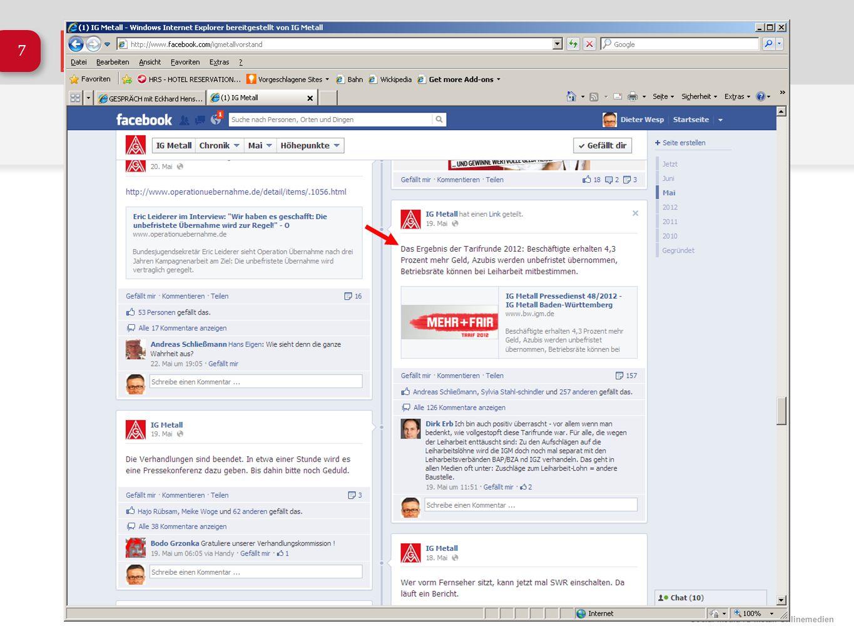 Social Media IG Metall Onlinemedien 18 Teil 2 Und was macht die IG Metall bei Facebook und anderen Social Media?
