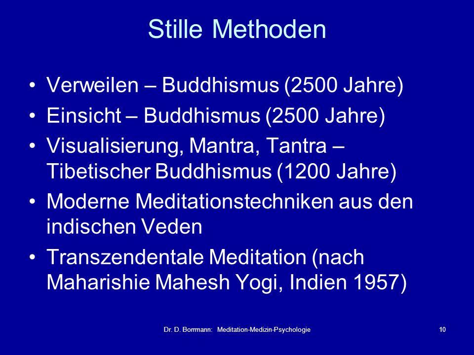 Dr. D. Borrmann: Meditation-Medizin-Psychologie10 Verweilen – Buddhismus (2500 Jahre) Einsicht – Buddhismus (2500 Jahre) Visualisierung, Mantra, Tantr