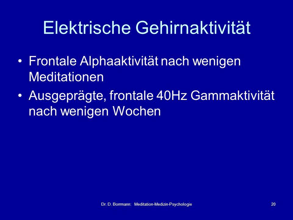 Dr. D. Borrmann: Meditation-Medizin-Psychologie20 Elektrische Gehirnaktivität Frontale Alphaaktivität nach wenigen Meditationen Ausgeprägte, frontale