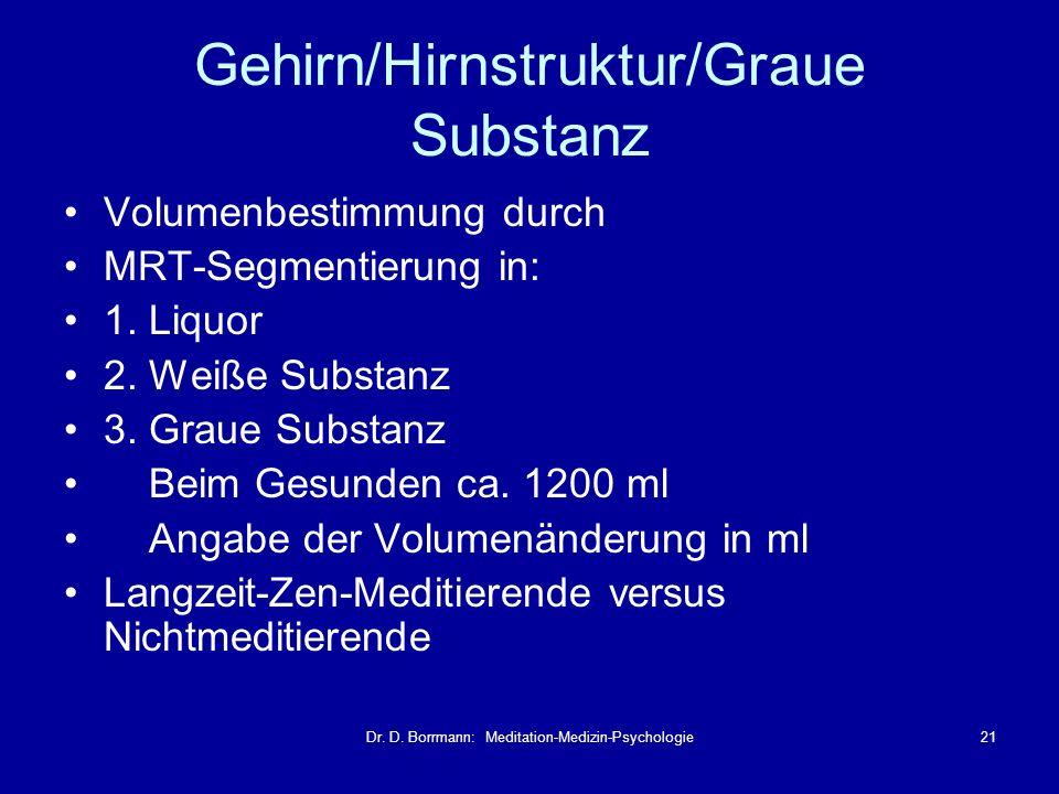 Dr. D. Borrmann: Meditation-Medizin-Psychologie21 Gehirn/Hirnstruktur/Graue Substanz Volumenbestimmung durch MRT-Segmentierung in: 1. Liquor 2. Weiße