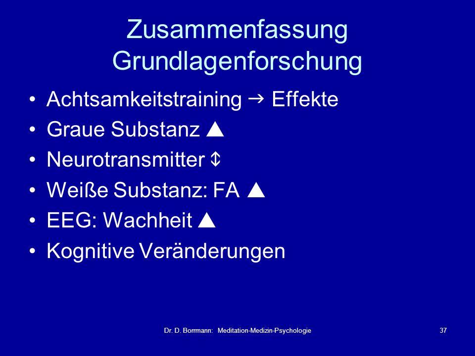 Dr. D. Borrmann: Meditation-Medizin-Psychologie37 Zusammenfassung Grundlagenforschung Achtsamkeitstraining Effekte Graue Substanz Neurotransmitter Wei