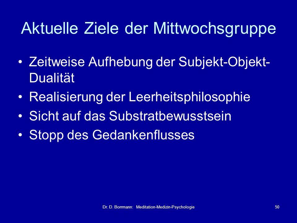 Dr. D. Borrmann: Meditation-Medizin-Psychologie50 Aktuelle Ziele der Mittwochsgruppe Zeitweise Aufhebung der Subjekt-Objekt- Dualität Realisierung der