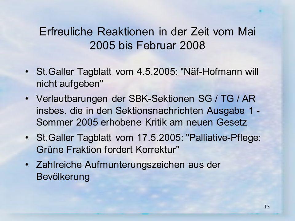 13 Erfreuliche Reaktionen in der Zeit vom Mai 2005 bis Februar 2008 St.Galler Tagblatt vom 4.5.2005: