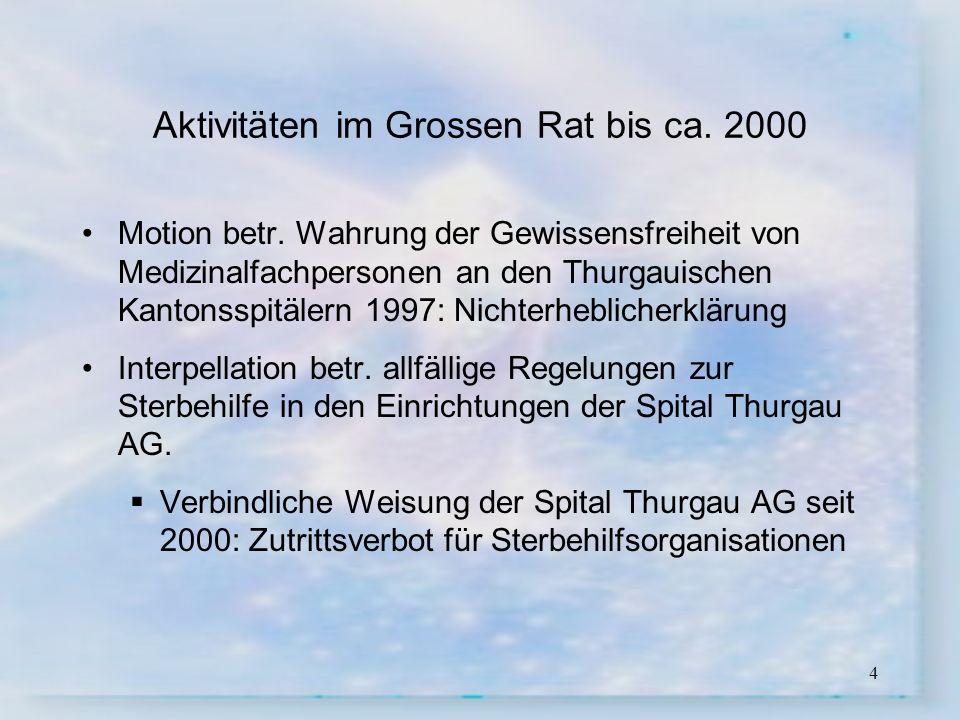 4 Aktivitäten im Grossen Rat bis ca. 2000 Motion betr. Wahrung der Gewissensfreiheit von Medizinalfachpersonen an den Thurgauischen Kantonsspitälern 1