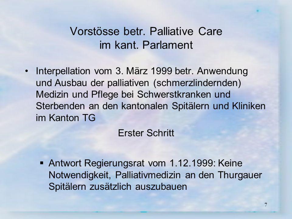 7 Vorstösse betr. Palliative Care im kant. Parlament Interpellation vom 3. März 1999 betr. Anwendung und Ausbau der palliativen (schmerzlindernden) Me