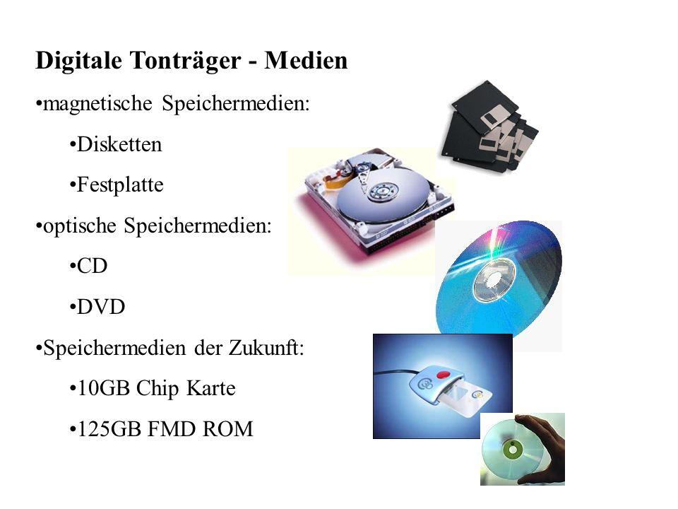 Digitale Tonträger - Medien magnetische Speichermedien: Disketten Festplatte optische Speichermedien: CD DVD Speichermedien der Zukunft: 10GB Chip Karte 125GB FMD ROM