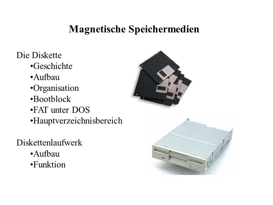 Magnetische Speichermedien Die Diskette Geschichte Aufbau Organisation Bootblock FAT unter DOS Hauptverzeichnisbereich Diskettenlaufwerk Aufbau Funktion