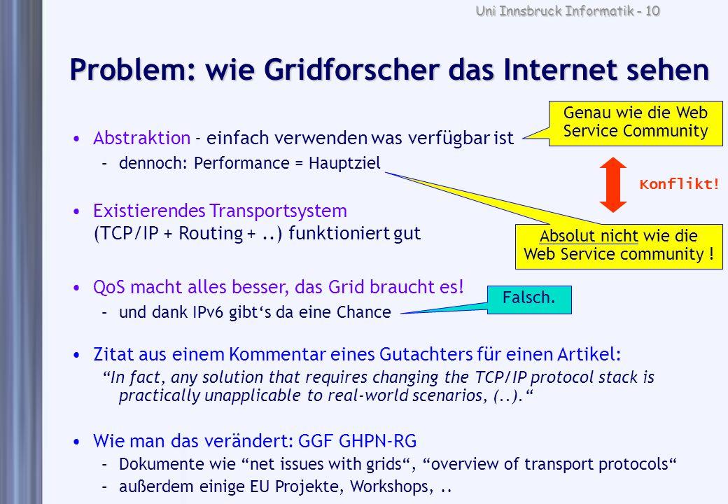 Uni Innsbruck Informatik - 10 Problem: wie Gridforscher das Internet sehen Abstraktion - einfach verwenden was verfügbar ist –dennoch: Performance = H