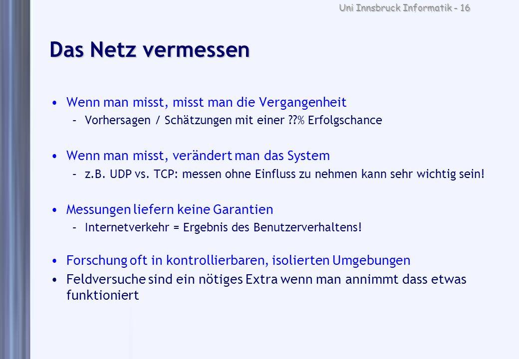 Uni Innsbruck Informatik - 16 Das Netz vermessen Wenn man misst, misst man die Vergangenheit –Vorhersagen / Schätzungen mit einer ??% Erfolgschance We