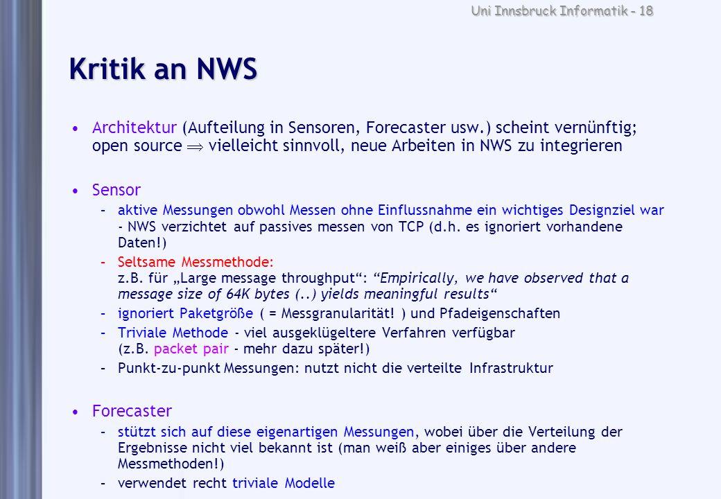 Uni Innsbruck Informatik - 18 Kritik an NWS Architektur (Aufteilung in Sensoren, Forecaster usw.) scheint vernünftig; open source vielleicht sinnvoll,