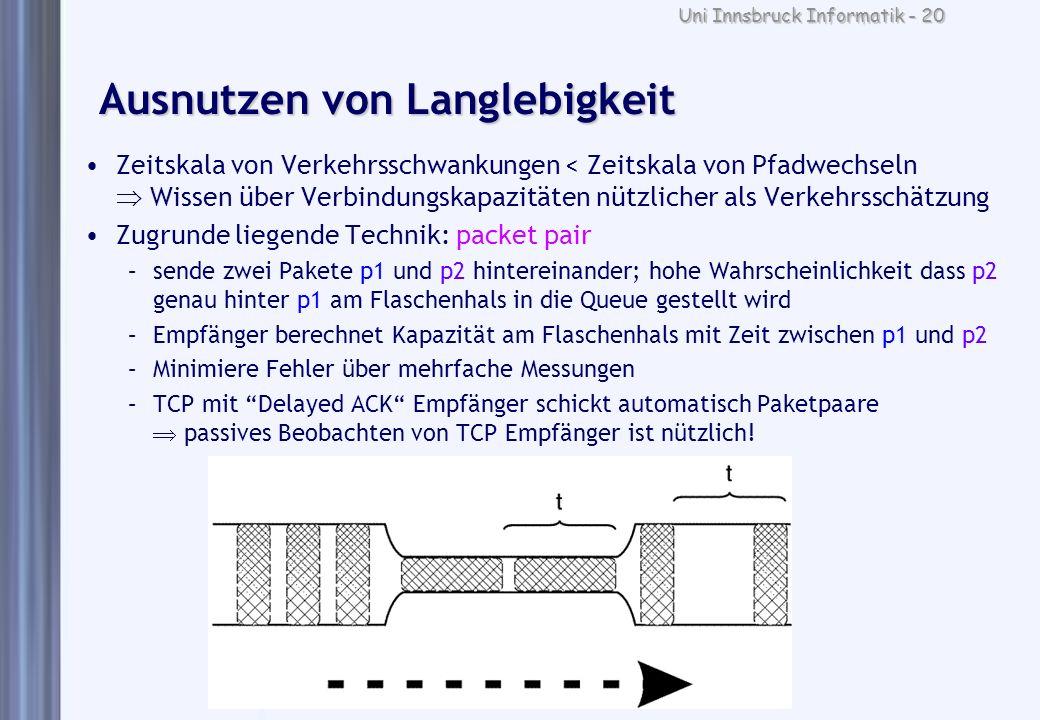 Uni Innsbruck Informatik - 20 Ausnutzen von Langlebigkeit Zeitskala von Verkehrsschwankungen < Zeitskala von Pfadwechseln Wissen über Verbindungskapaz