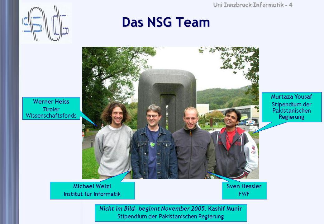 Uni Innsbruck Informatik - 4 Das NSG Team Werner Heiss Tiroler Wissenschaftsfonds Michael Welzl Institut für Informatik Sven Hessler FWF Murtaza Yousa