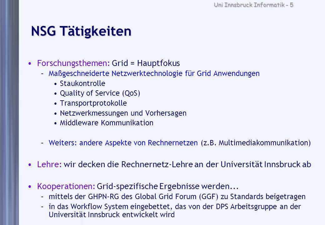 Uni Innsbruck Informatik - 5 NSG Tätigkeiten Forschungsthemen: Grid = Hauptfokus –Maßgeschneiderte Netzwerktechnologie für Grid Anwendungen Staukontro