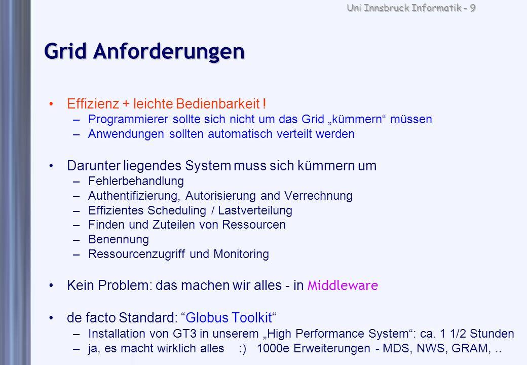 Uni Innsbruck Informatik - 9 Grid Anforderungen Effizienz + leichte Bedienbarkeit ! –Programmierer sollte sich nicht um das Grid kümmern müssen –Anwen