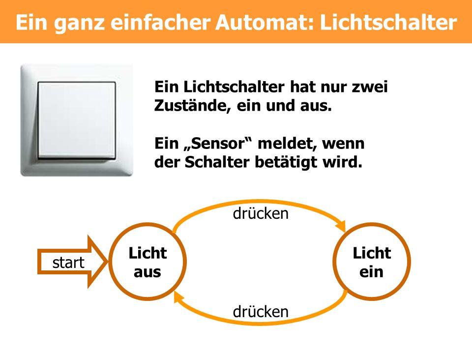 Ein ganz einfacher Automat: Lichtschalter Licht aus Licht ein drücken start Ein Lichtschalter hat nur zwei Zustände, ein und aus. Ein Sensor meldet, w