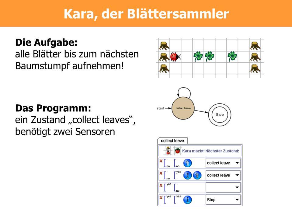 Die Aufgabe: alle Blätter bis zum nächsten Baumstumpf aufnehmen! Das Programm: ein Zustand collect leaves, benötigt zwei Sensoren Kara, der Blättersam