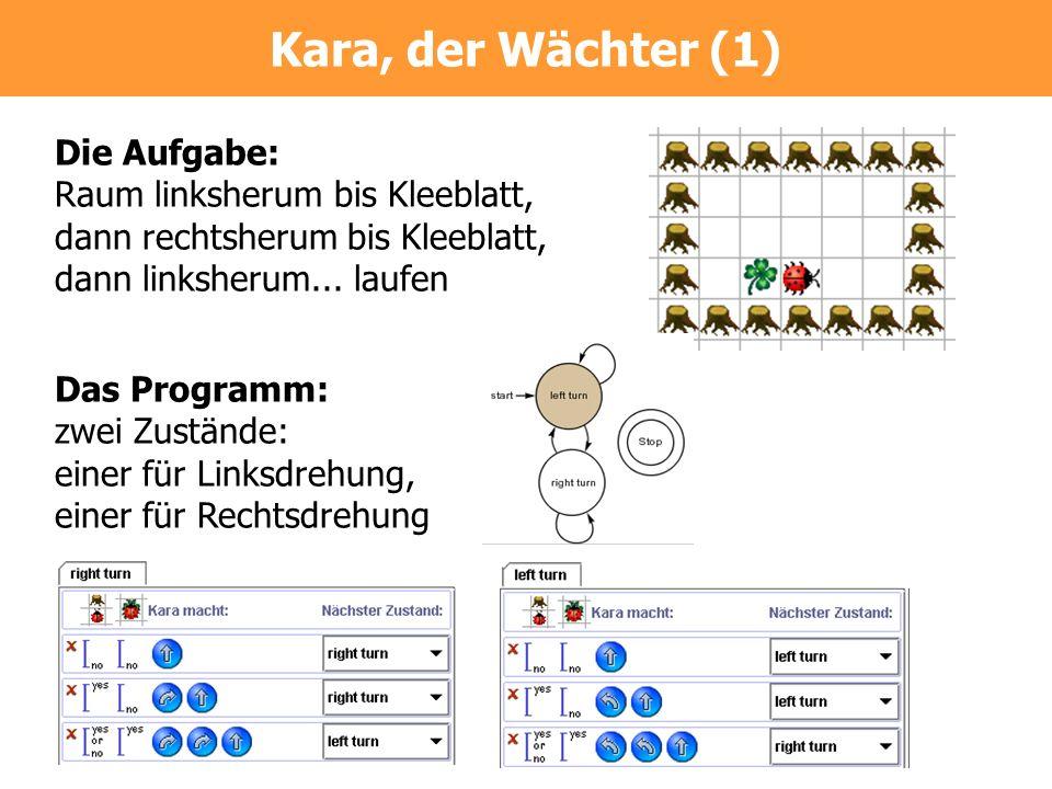 Die Aufgabe: Raum linksherum bis Kleeblatt, dann rechtsherum bis Kleeblatt, dann linksherum... laufen Das Programm: zwei Zustände: einer für Linksdreh