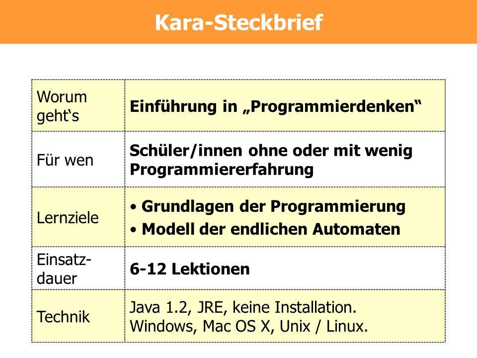 Kara-Steckbrief Worum gehts Einführung in Programmierdenken Für wen Schüler/innen ohne oder mit wenig Programmiererfahrung Lernziele Grundlagen der Pr