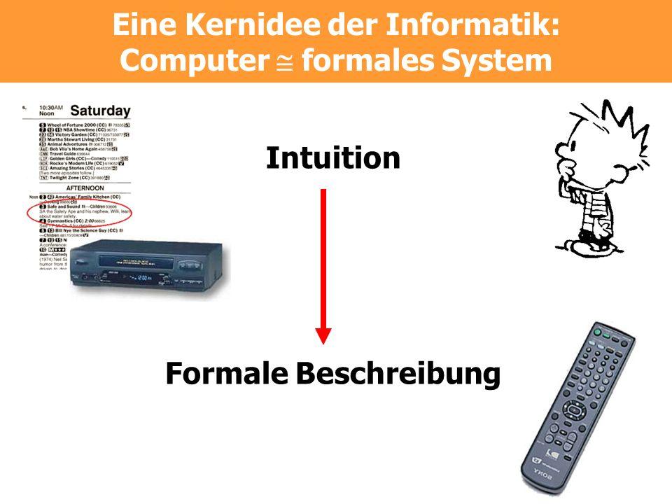 Eine Kernidee der Informatik: Computer formales System Intuition Formale Beschreibung