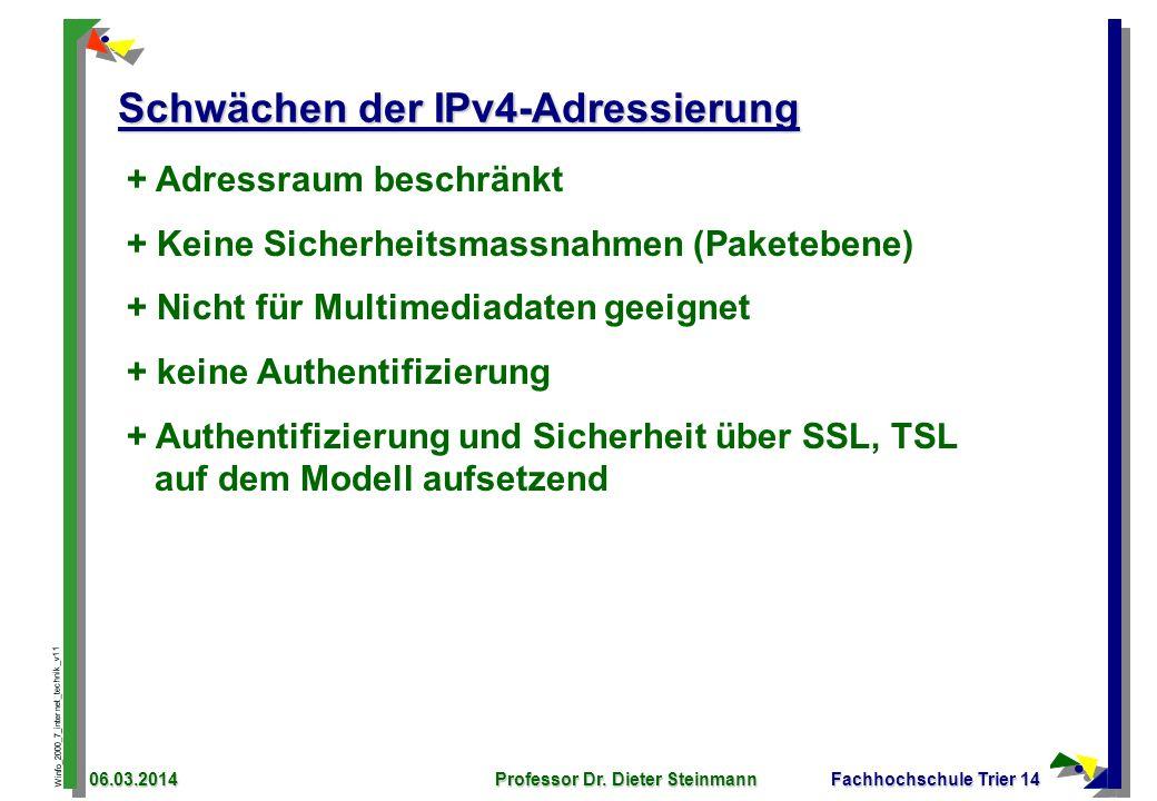 Winfo_2000_7_internet_technik_v11 06.03.2014Professor Dr. Dieter SteinmannFachhochschule Trier 14 Schwächen der IPv4-Adressierung + Adressraum beschrä