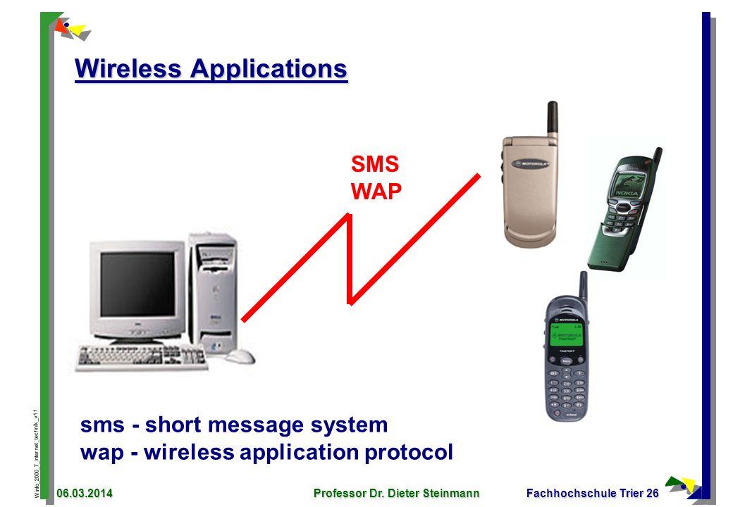 Winfo_2000_7_internet_technik_v11 06.03.2014Professor Dr. Dieter SteinmannFachhochschule Trier 26 Wireless Applications SMS WAP sms - short message sy
