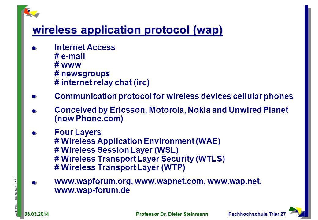Winfo_2000_7_internet_technik_v11 06.03.2014Professor Dr. Dieter SteinmannFachhochschule Trier 27 wireless application protocol (wap) Internet Access