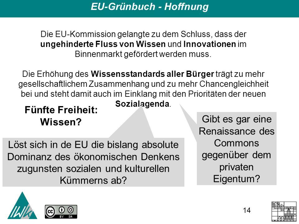 14 EU-Grünbuch - Hoffnung Die EU-Kommission gelangte zu dem Schluss, dass der ungehinderte Fluss von Wissen und Innovationen im Binnenmarkt gefördert werden muss.